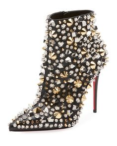 So Full Kate Studded Napa Red Sole Bootie by Christian Louboutin at Neiman Marcus Cute Shoes, Me Too Shoes, Edgy Shoes, Shoes Style, Bootie Boots, Shoe Boots, Ankle Boots, Studs And Spikes, Red Sole