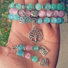 Free Shipping Genuine Healing Bracelets with Earrings, Bracelet Stack, Arm Candy, Gift Ideas, Wrist Mala, Healing Crystals, Healing Stones