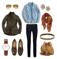 Barbour Jacket, Blanket Scarf & Bucket Bag by pinkngreennblack on Polyvore featuring polyvore, fashion, style, J.Crew, Stubbs & Wootton, Tory Burch, Daniel Wellington, Carolee, LA77, Ray-Ban, Barbour, J Brand and clothing