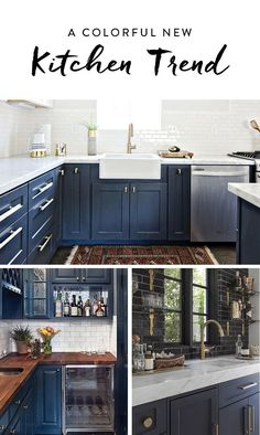 From cabinets to islands, navy blue is the color of the moment for kitchens. From cabinets to islands, navy blue is the color of the moment for kitchens. Here are 10 looks we're absolutely loving right now. Kitchen Paint, Kitchen Redo, New Kitchen, Gold Kitchen, Kitchen Living, Blue Cabinets, Colored Cabinets, Kitchen Colors, Colors For Kitchen Cabinets