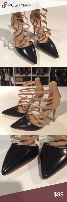 Never worn! Aldo black and nude buckle up stiletto Zipper back. Buckle cage design. Black and nude! They speak for themselves! Stunning. Never worn! Excellent condition. Not sure if I still have the box. I will check. But will send an appropriate storage box when sold regardless Aldo Shoes Heels