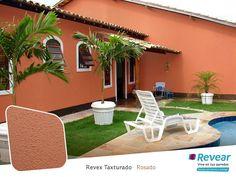 Revex Texturado Rosado Exterior Colonial, House Paint Exterior, Exterior House Colors, House Paint Design, Modern Small House Design, Mud House, Mexico House, Orange House, Mediterranean Style Homes