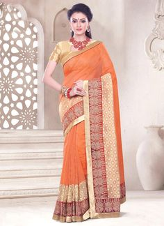 Groovy Orange Patch Border Work Net Casual Saree