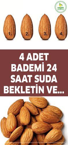 4 adet bademi 24 saat suda bekletin ve... #badem Colon Cancer, Healthy Beauty, Good To Know, Health Fitness, Skin Care, How To Make, Food, Patterns, Masks