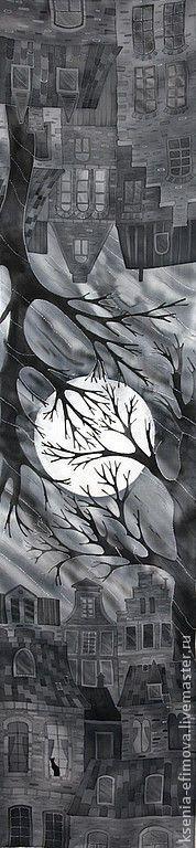 """Шарф """"Лунная ночь."""" - город,ночь,луна,деревья,лунная ночь,романтика,серый"""