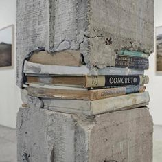 "Knowledge is foundation of everything. (Caption by: ""Pillars"" is an installation by Ishmael Randall Weeks, depicting columns made of concrete and books. Instalation Art, Urbane Kunst, Concrete Art, Concrete Sculpture, Banksy, Public Art, Oeuvre D'art, Urban Art, Les Oeuvres"