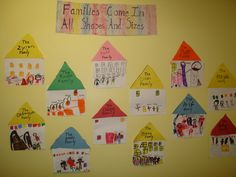 Family Home- Child cuts out triangle (roof) and square. Child draws picture of family on square and glues roof on top of square.