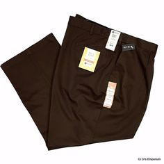 Haggar Work To Weekend Classic Fit Flat Front Pants 52 x 30 Brown Comfort Waist #Haggar #DressFlatFront