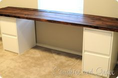 desk made from plywood and two file cabinets - Google Search