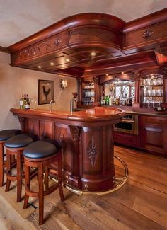 Home Bar Design Ideas. The great designs of portable home bars provide flexibility to move your bar home to any room in the summer. Diy Home Bar, Home Pub, Bars For Home, Basement Bar Designs, Home Bar Designs, Basement Bars, Café Design, House Design, Design Ideas