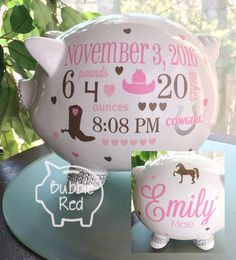 Personalized piggy bank baby girl piggy bank baby girl gift piggy cowgirl personalized piggy bank custom piggy bank personalized baby girl cowboy piggy bank negle Choice Image