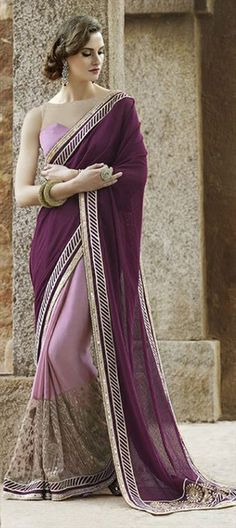 199058 Pink and Majenta color family Embroidered Sarees, Party Wear Sarees in Faux Georgette, Net fabric with Lace, Machine Embroidery, Thread work with matching unstitched blouse.