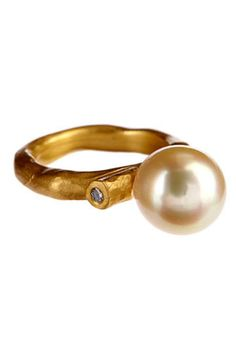 Ball Ring in Yellow Gold with South Sea Pearl and Diamonds | Andrea Gutierrez Jewelry