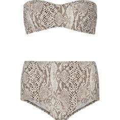 Norma Kamali Sunglass snake-print bandeau bikini (174545 IQD) ❤ liked on Polyvore featuring swimwear, bikinis, animal print, retro swimwear, swimming bikini, retro bikini, swim wear and retro swim wear