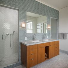 Bathroom Ideas, Grey Subway Tile Bathroom With Glass Shower Door And Large Frameless Mirror Above Double Sinks Wall Mounted Bathroom Vanity: Take a Good Decision of Subway Tile Bathroom Bathroom Vanities For Sale, Grey Bathroom Vanity, Gray Bathroom Decor, Grey Bathrooms, Small Bathroom, Bathroom Ideas, Wood Vanity, Bathroom Makeovers, Bathroom Inspo