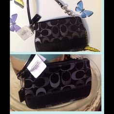 Authentic Coach Wristlet Firm & No Holds Black and gray, one credit card pocket, tag and NWT. 7 x 4. This did not fit my iPhone 5s in Outterbox easily Coach Bags Clutches & Wristlets