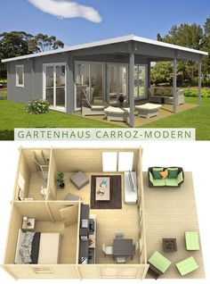 Garten-und Freizeithaus Carroz-Modern 70 ISO Garden and leisure house Carroz-Modern 70 ISO: The extr Dream House Plans, Small House Plans, House Floor Plans, Dream Houses, Tiny House Cabin, Tiny House Living, Tiny Guest House, Bungalow Haus Design, Small House Design