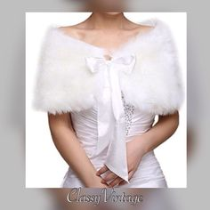 White faux fur neck warmer - Restocked Stunning white faux fur neck warmer. Back is satin lined and has ties in in front Boutique Accessories Scarves & Wraps