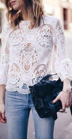 White lace blouse with jeans and a bag Zara Lace Top, Lace Tops, Lace Blouses, Mode Chic, Mode Style, Look Fashion, Fashion Outfits, Womens Fashion, Fashion Weeks