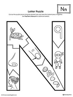 Letter N Puzzle Printable Worksheet.The Letter N Puzzle is perfect for helping students practice recognizing the shape of the letter N, and it's beginning sound, along with developing fine-motor skills. Letter N Worksheet, Tracing Worksheets, Preschool Worksheets, Alphabet Activities, Preschool Activities, Beginning Sounds Worksheets, Preschool Decor, New Year's Crafts, Puzzle