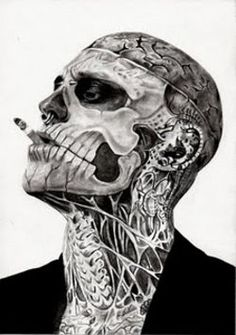 Rick Genest, famous tattooed model. He scares me, but this picture looks so cool!