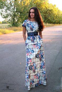 Купить Длинное платье в клетку - в клеточку, Платье нарядное, платье в пол, платье макси