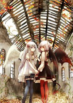 ✮ ANIME ART ✮ angel. . .devil. . .halo. . .horns. . .angel wings. . .bat wings. . .silver hair. . .holding hands. . .autumn leaves. . .moe. . .cute. . .kawaii