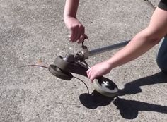 Add A Wheel to you weed eater for a DIY edger/trimmer