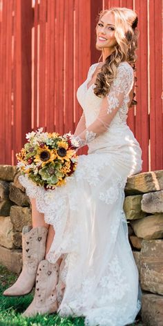 country wedding dresses with boots lace illusion long sleeves v neckline mattdayphoto wedding dresses with boots fall Bridal Guide: 27 Country Wedding Dresses Country Style Wedding Dresses, Country Wedding Dresses, Dream Wedding Dresses, Bridal Dresses, Country Weddings, Vintage Weddings, Lace Wedding, Cowgirl Wedding Dresses, Country Wedding Attire