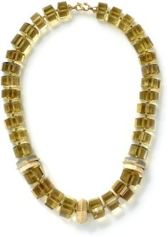 NBWD612Y - Lemon citrine and fossilized walrus ivory trillion bead necklace - Necklaces - Collections
