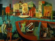 """John Minton's 1946 """"Rotherhithe from Wapping"""" (Southampton City Art Gallery) Industrial Farmhouse, Industrial Closet, Industrial Shop, Industrial Bookshelf, Industrial Windows, Industrial Restaurant, Industrial Apartment, Urban Industrial, Industrial Bedroom"""