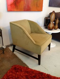 Fitch Accent Chair  2 of these with small Raymond table between Fabric - Basil Green Velvet