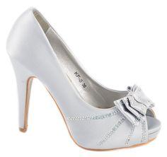 Pantofi cu platforma - Pantofi dama silver cu fundita KF-8S - Zibra