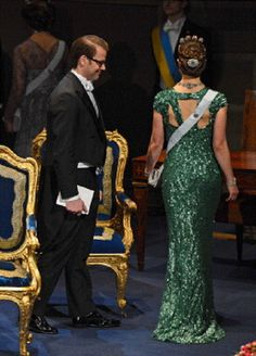 Prince Daniel and Crown Princess Victoria of Sweden leave after the Nobel Prize Ceremony at Concert Hall