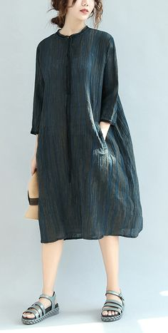 dark blue linen dresses oversize casual sundress bracelet sleeved maxi dress2