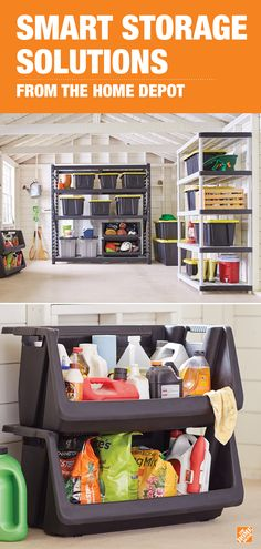 Maximize space and control clutter with storage solutions from The Home Depot. Sturdy shelving creates additional space around the walls, while tough totes and bins add the perfect space for all of your supplies. Click to shop smart garage storage solutions.