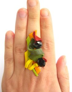 Bold Geometry No. 2 - large colorful polymer clay ring. $30,00, via Etsy.
