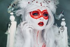 "Today we want to show you amazingly beautiful photo art by Hanny Honeymoon. ""I'm a fine art photographer from good old Germany - Hannover. Honeymoon Photography, Dark Beauty Magazine, Red Mask, Masquerade Costumes, Fantasy Photography, Portrait Photography, Fashion Photography, Beauty Portrait, Creative Makeup"