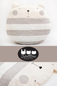 Striped Round Pillow Bear pillows Gray nursery decor by JuliaWine