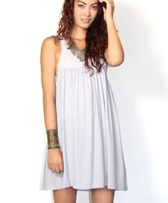 Gray loose fit sleeveless dress #ustrendy www.ustrendy.com