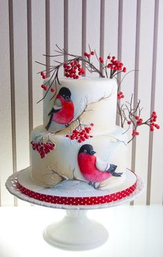 Winter Cake - I can see a spring cake with different colors Gorgeous Cakes, Pretty Cakes, Amazing Cakes, Unique Cakes, Creative Cakes, Elegant Cakes, Bird Cakes, Cupcake Cakes, Flower Cakes