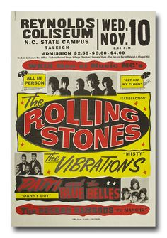 1960's Rolling Stones Concert Poster 8x12 Metal Poster