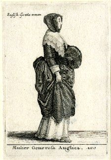 An English lady walking in profile to right, wearing a hood, broad collar trimmed with double row of scalloped lace, her left hand in a muff, lifting her skirt with her right hand, revealing an underskirt; second state, before vertical strokes added to ground. 1642 Etching and engraving  Inscriptions Inscription Content: Signed and dated within design at lower right 'W. Hollar, inu: 1642', lettered at top left with 'English: Gentle: woman' and below image with Latin title.