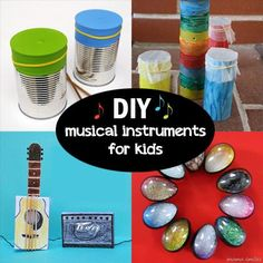 DIY musical instruments for children. Join in the fun with your cooped-up children - you can be the conductor. Check out these 17 DIY musical instruments for kids. Preschool Music, Music Activities, Teaching Music, Activities For Kids, Kindergarten Music, Toddler Crafts, Toddler Fun, Crafts For Kids, Kids Fun