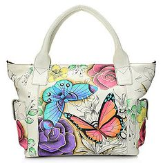 Anuschka Hand-Painted Leather Dual Side Pocket Tote Bag w/ Removable Strap