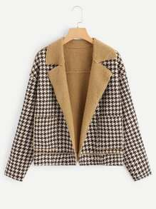Shop Houndstooth Teddy Lined Coat online. SHEIN offers Houndstooth Teddy Lined Coat & more to fit your fashionable needs. Pop Fashion, Fashion News, Fashion Outfits, Fashion Design, Line Jackets, Houndstooth, Outerwear Jackets, Coat, Tweed