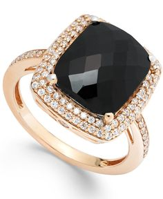 Diamond (1/2 ct. t.w.) and Onyx (1 ct. t.w.) Ring in 14k Rose Gold