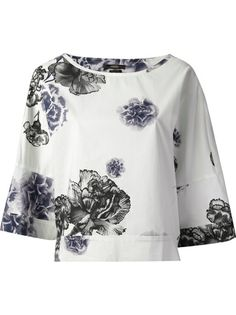 Shop ODEEH Floral Printed Blouse from Farfetch