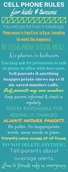 Safe cell phone rules for kids, tweens, and teens. #cellphone #kidsandcellphones #cellphonerules