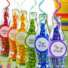 ~ Bubble Gum Party Inspiration board by Bella Bella Studios ~ Make soda bottles *pop* with chromatic candy favor labels! photo via Party City Rainbow Parties, Rainbow Birthday Party, Rainbow Theme, Candy Theme, Candy Party, Party Favors, Rainbow Candy Buffet, Party Mottos, Bar A Bonbon